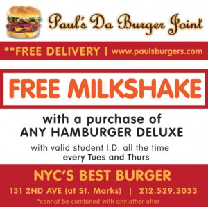 Burger joint coupons