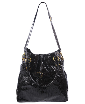 Glossy Embossed Faux Crocodile Handbag, $29.80