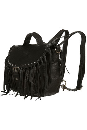 Black Leather Fringed Backpack,$80.00