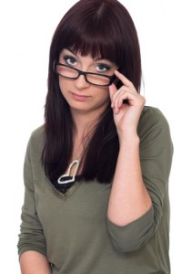 young brunette with eyeglasses