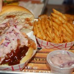 Pulled Pork Sandwich with Coleslaw and Waffle Fries