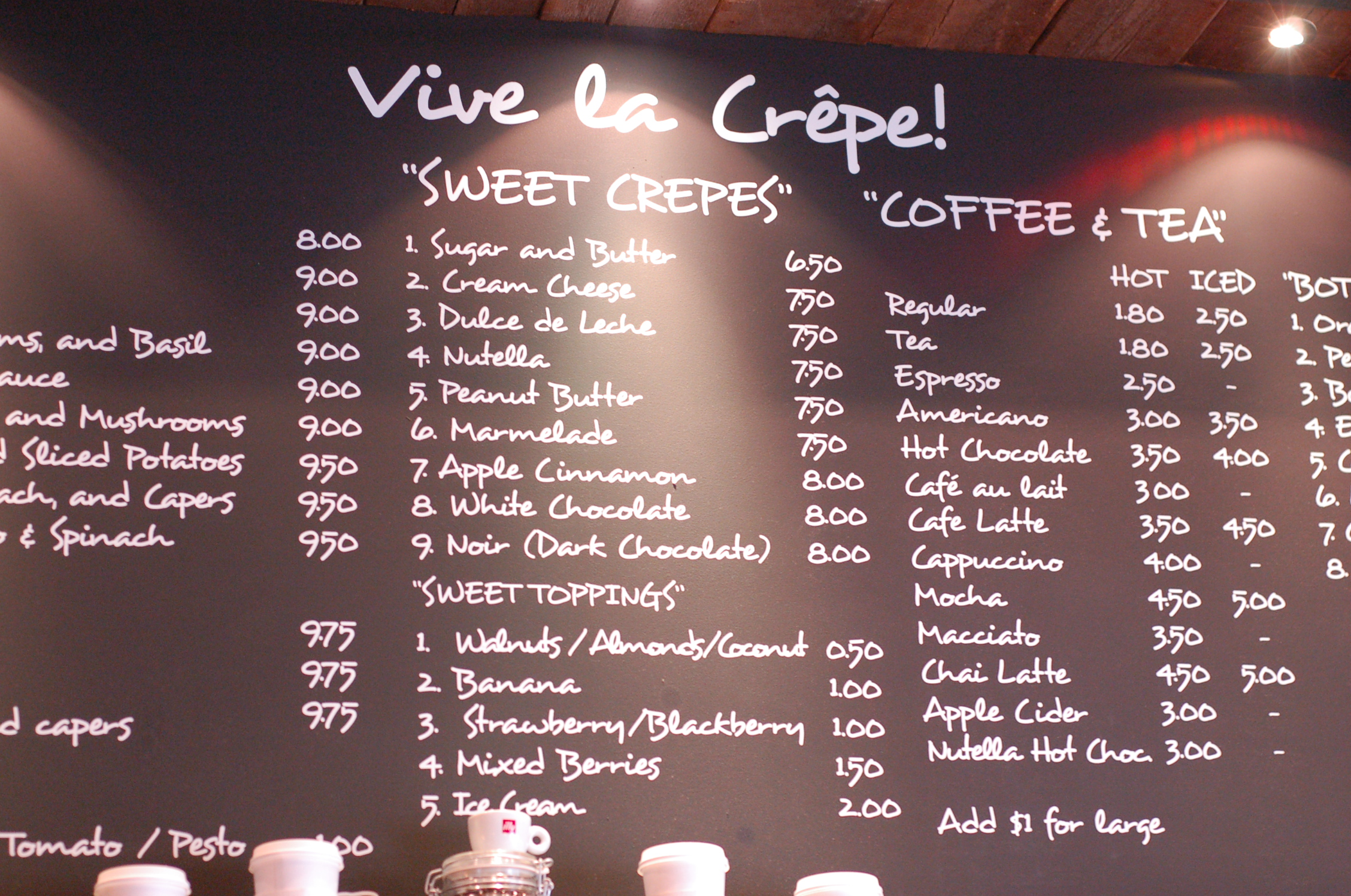 Crepe Cafe Square Menu