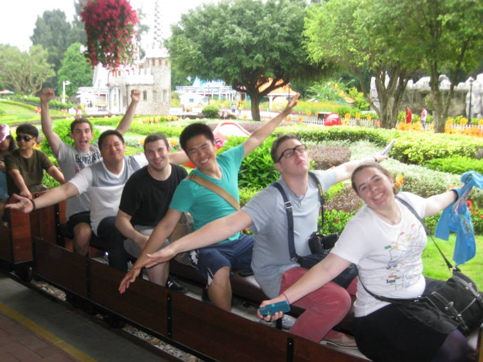 My friends on the train ride at Windows of the World in Shenzhen, China.