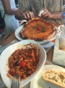 Vapiano's pasta bolognese and margharita pizza. Photo by Tamar Lapin.
