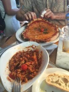 Vapiano's pasta bolognese and margharita pizza. Photo by Tamar Lapin.