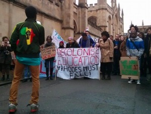 A #RhodesMustFall protest. Courtesy LeftVoice.org.