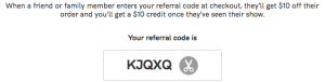 A referral code of TodayTix