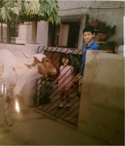 Me and my cousin circa 1999 in Vadodara.